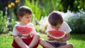 Two boys, eating watermelon in the garden, summertime