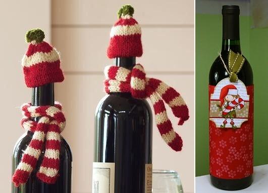 коледна украса бутилки вино