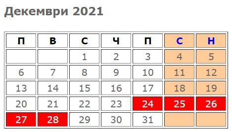 pochivni dni i praznitsi 2021_dekemvri